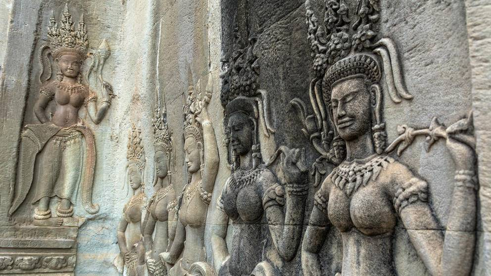 Carved apsara relief, Angkor Wat
