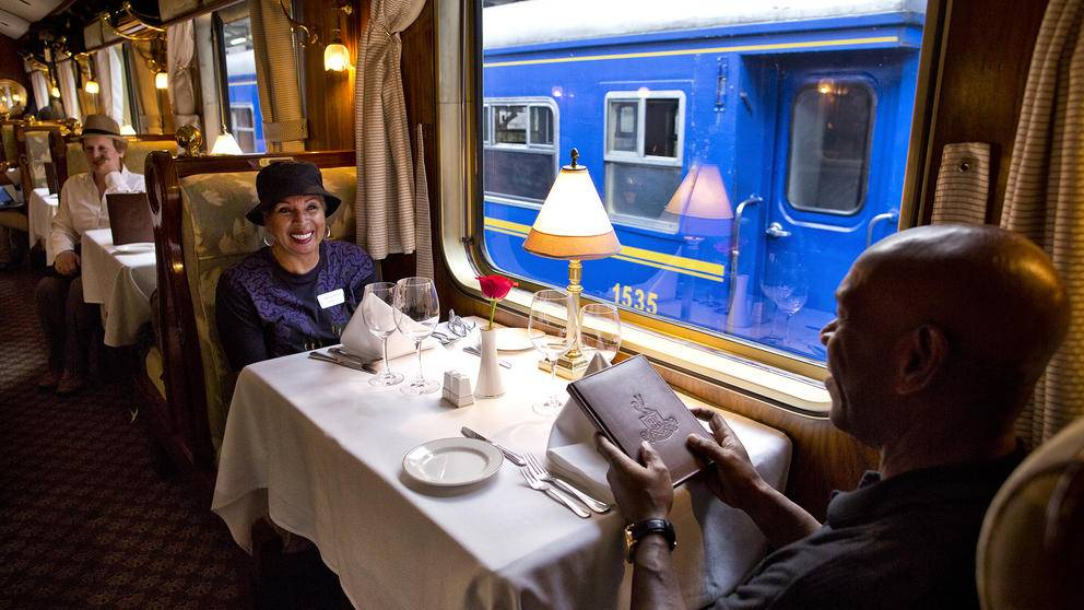 Dining on the Hiram Bingham train, Peru